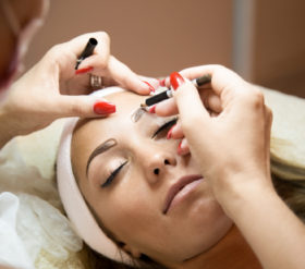 Beautiful Woman Getting Her Eyebrows Done